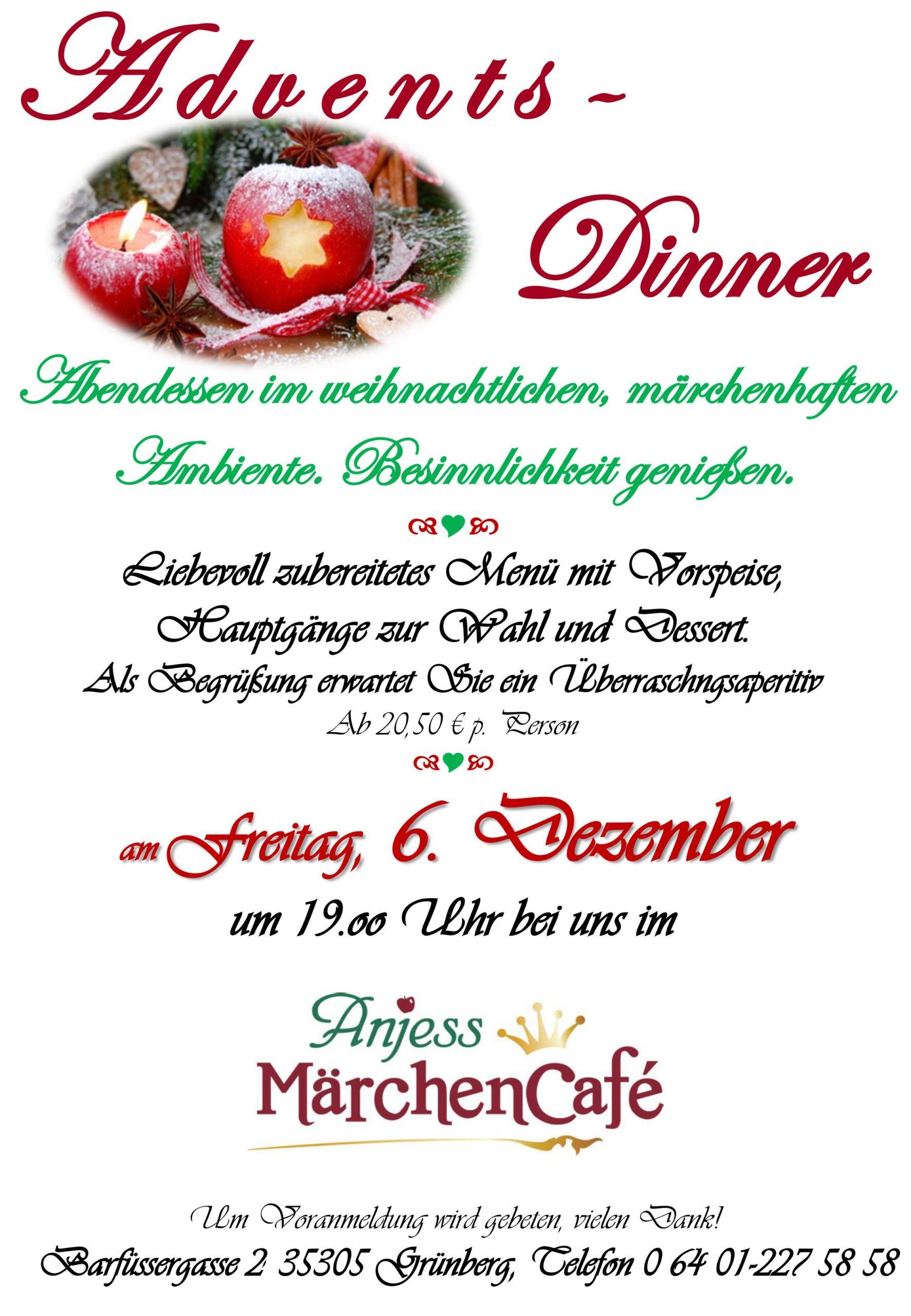 Informationen über das Advents Dinner
